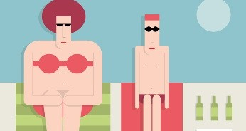 Man with a fat woman on the beach, flat style, vector cartoon illustration