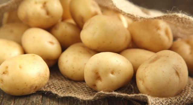 Close up of fresh organic potatoes