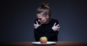 Girl suffering from anorexia nervosa