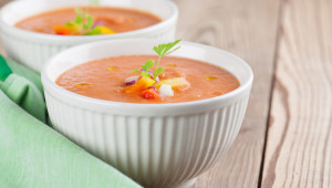 Healthy, delicious and refreshing Spanish cold soup gazpacho in bowls