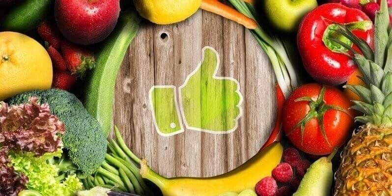 Thumbs up for fruit and vegetables