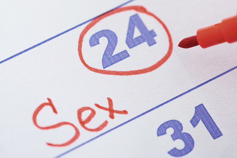 Close-up Of Date Marked With Red Pen For Sex On Calendar