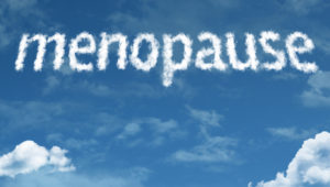 Menopause cloud word with a blue sky
