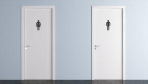 toilet doors for male and female genders. 3d render