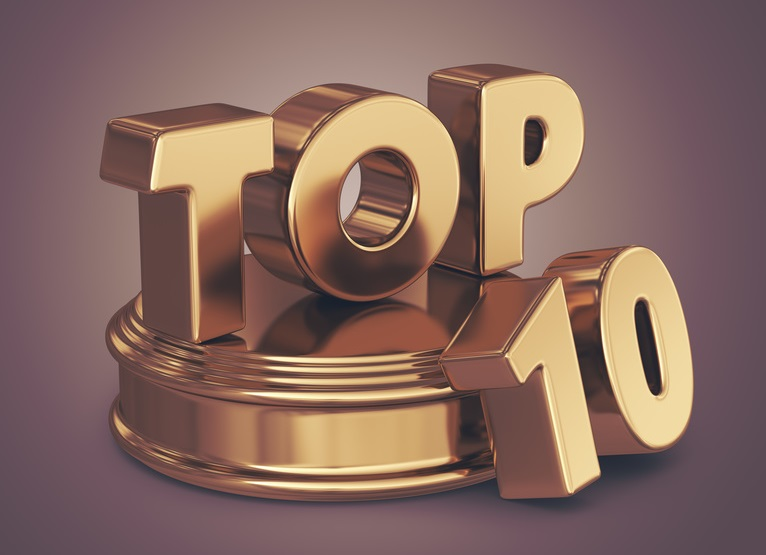 Golden top 10 list. 3D illustration