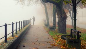 Young woman walking alone on foggy autumn day
