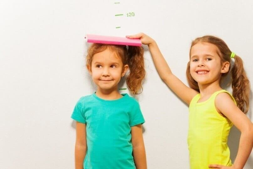 Girls measure height on wall scale