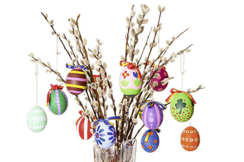 Easter eggs on willow bouquet horizontal